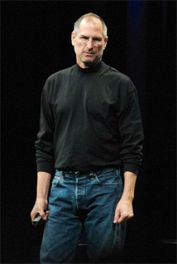 Steve Jobs and his iconic turtleneck/jeans combo outfit