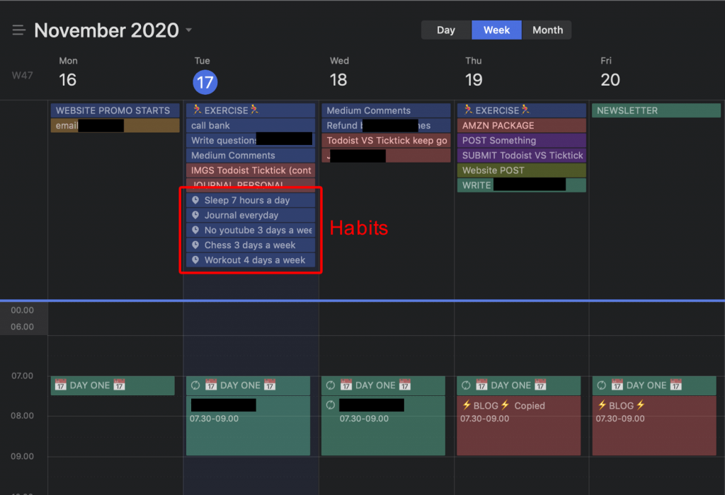 Ticktick calendar with habits enabled
